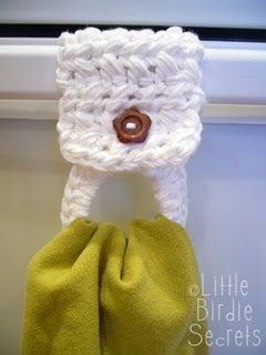 Crocheted dishtowel hanger! Love having something that will keep kitchen towels from falling onto the floor (but aren't the ones with the entire crocheted top on the towel!)