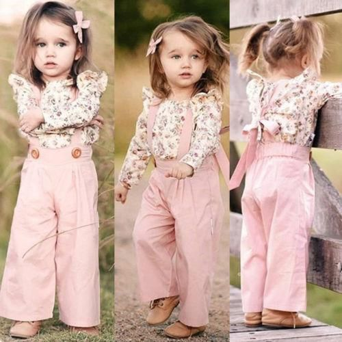 US 2PCS Toddler Kids Baby Girl Winter Clothes Floral Tops+Pants Overall Outfits