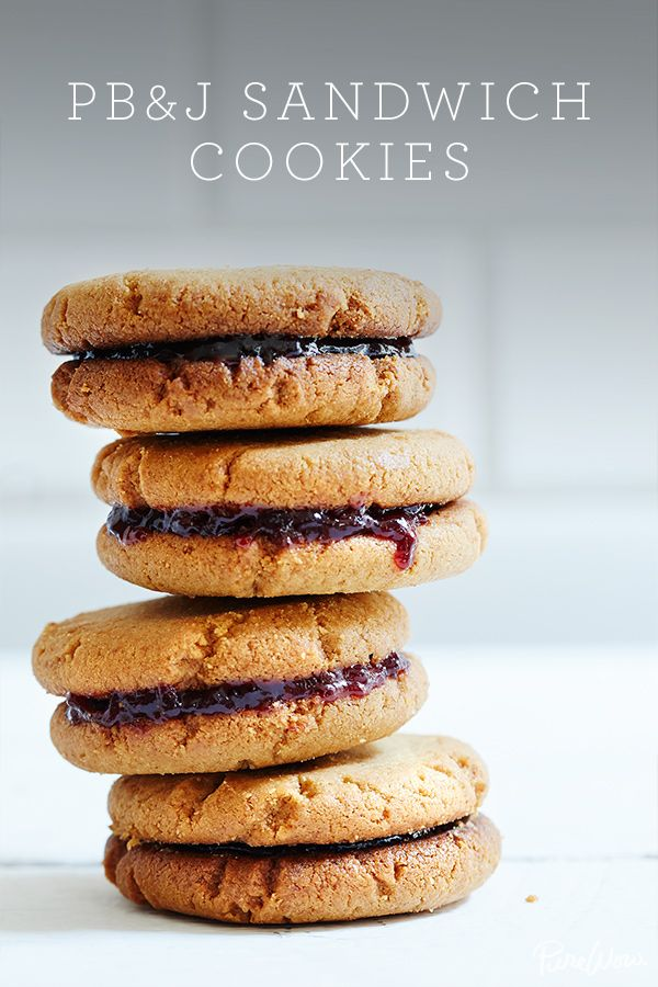 Peanut Butter and Jelly Sandwich Cookies via @PureWow