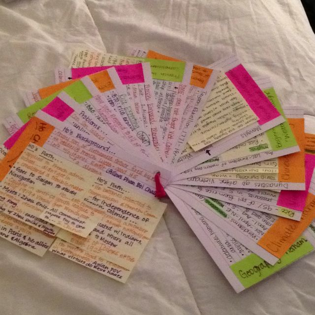 Midterm Study Cards! Color coordinated...with post its