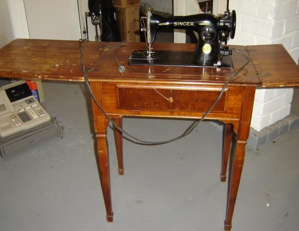 Mr Thrifter Vintage Sewing Table Pass No Profit Here Stunning Antique Electric Singer Sewing Machine In Cabinet