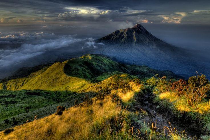 Mt. Merapi from the summit of Mt. Merbabu (HDR)