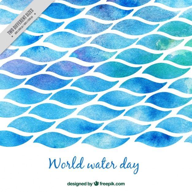do mar da aguarela mundo água dia Vetor grátis