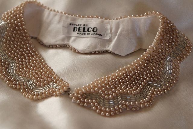Beaded collar detail; elegant embellishment; sewing idea // Delco