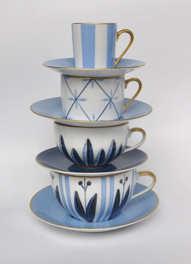 Blue cups, tea and coffee cups. Porcelain of Limoges, Hand painted Marie Daage