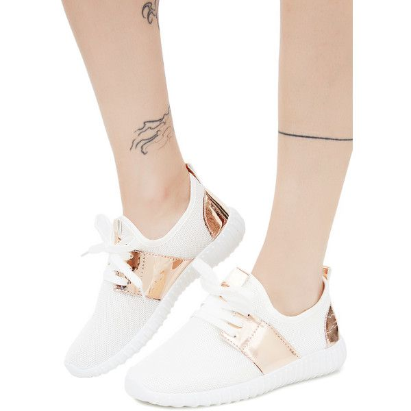 Mesh Metallic Rose Gold Sneakers White ($35) ❤ liked on Polyvore featuring shoes, sneakers, white sneakers, mesh sneakers, metallic sneakers, white shoes and rose gold trainers