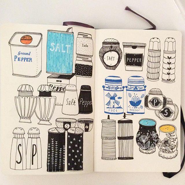 Instagram media by hee_cookingdiary - Day 28, Salt & Pepper Shaker #CBDrawADay #creativebug #linedrawing #doodle #moleskineart #sketchbook