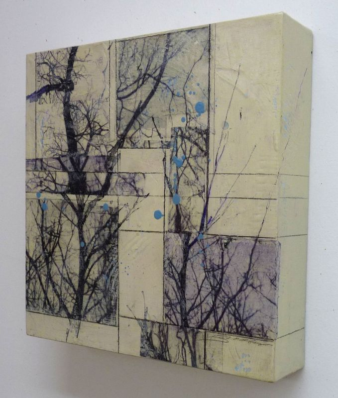 karen jacobs - arbres series 6, high contrast photo images printed on paper and glazes on canvas box.