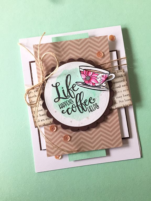 Hand stamped card by Amber Hight using the Coffee Helps stamp set and Cup For All Seasons Die Set from Verve. #vervestamps #coffee