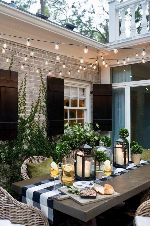 dinner party home decor backyard patio patio lighting outdoor rh pinterest com
