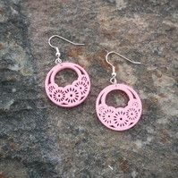 Wooden Pink Earrings