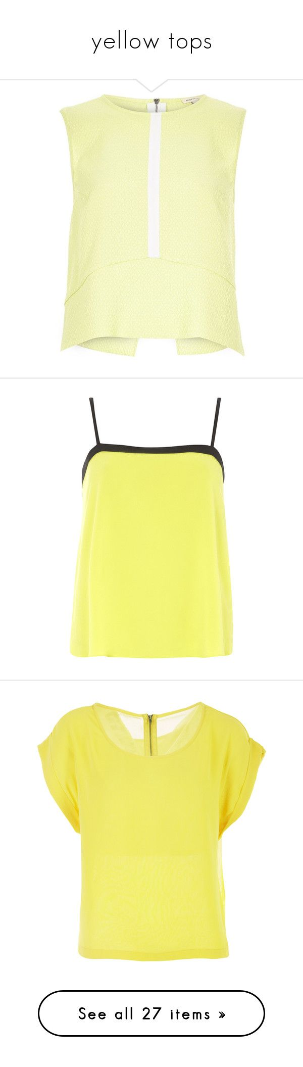 """""""yellow tops"""" by lulucosby ❤ liked on Polyvore featuring tops, lime, sale, women, tall tank, striped top, lime green top, lime green tank top, yellow tank top and shirts"""