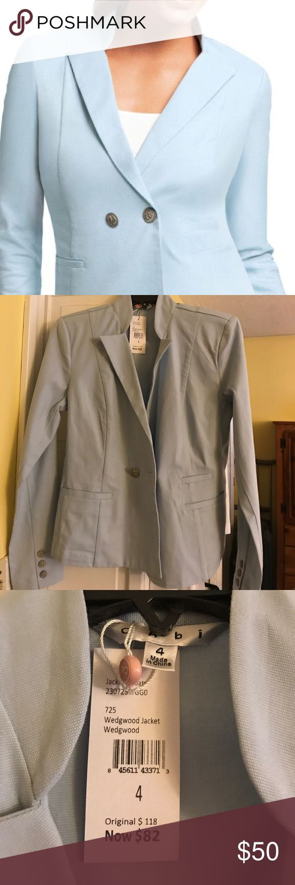 CAbi wedgewood blue blazer Size 4 Gorgeous light blue blazer new with tags! CAbi Jackets & Coats Blazers