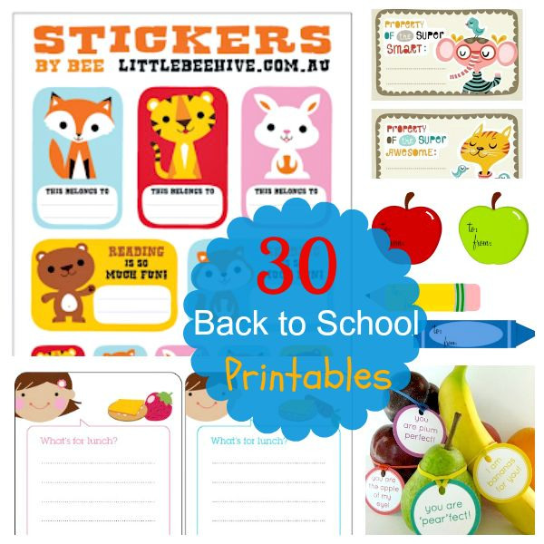 30 + Back to School Printables collected by Jojo and Eloise { Where do you suggest using a little something special to your child or students Day at School?}