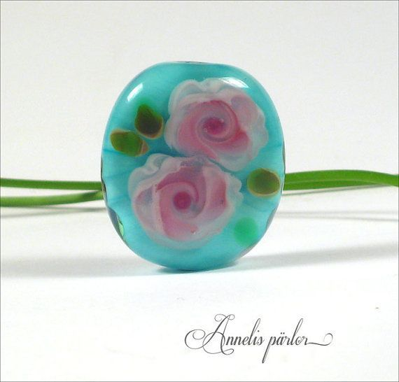Handmade lampwork bead rose bead focal Artisan by Annelibeads