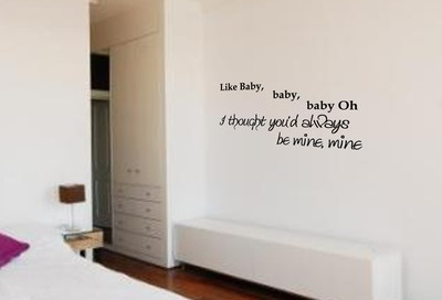 WALL ART JUSTIN BIEBER BABY (BABY) SONG QUOTE STICKER DECAL BEDROOM