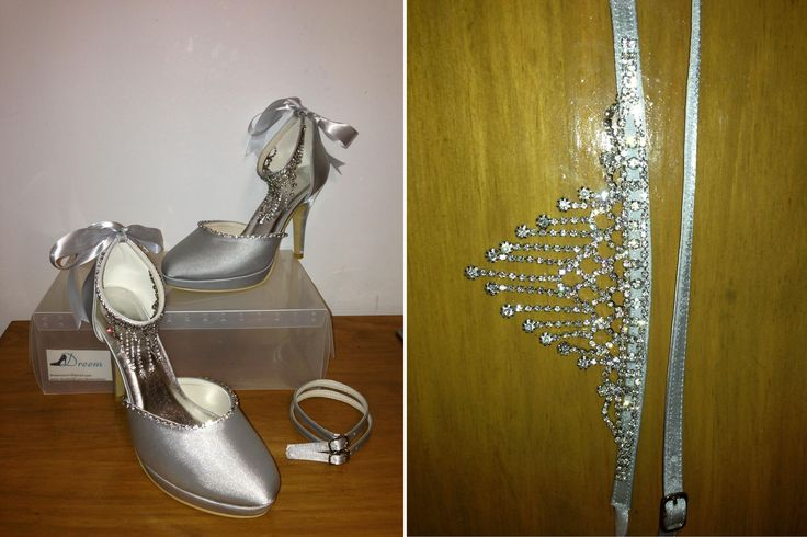 Made to order model 2 Silver satin 10 cm heel  Interchangeable ankle straps- see next photo Size 4-11 $99.00 (includes free express post)  THESE ARE PART OF OUR CUSTOM ORDER RANGE- 26 COLOUR & FABRIC COMBINATIONS WITH 7 HEEL HEIGHTS www.dreemshoes.com