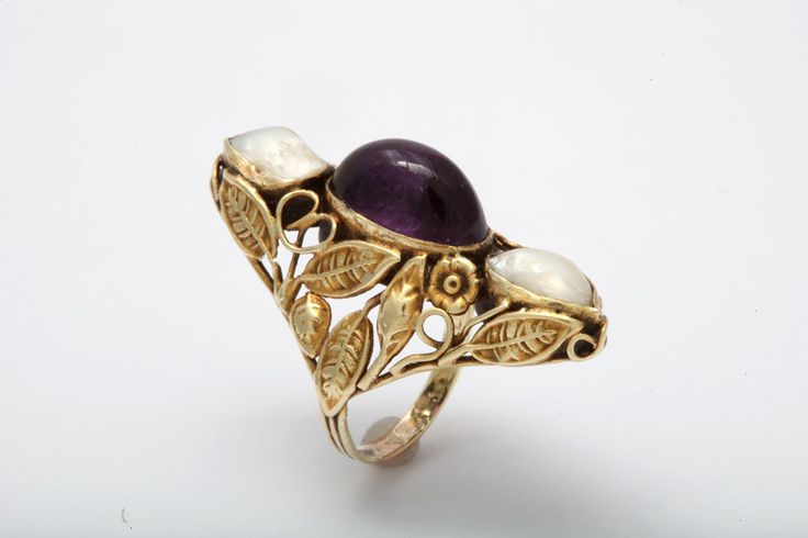 Art Nouveau Pearl & Cabochon Amethyst Ring | From a unique collection of vintage fashion rings at https://www.1stdibs.com/jewelry/rings/fashion-rings/