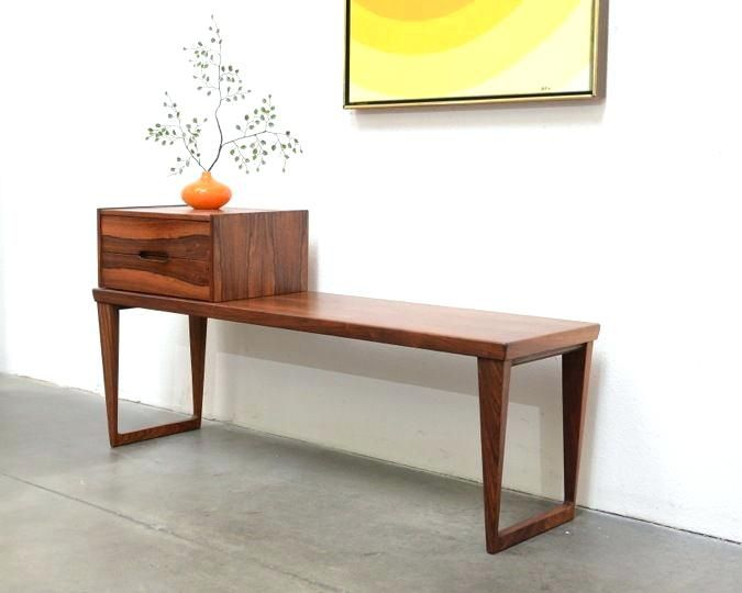 Mid Century Entryway Bench Danish Modern Rosewood Entry Chest Table Porter