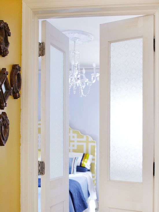 Home Decorating Tips - Privacy, Please: Brighten a room without sacrificing privacy. Apply patterned window film to glass-front doors (or windows) to allow light from adjoining spaces to fill a dim room