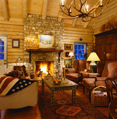 Log Cabin Design With Flag Throw And Antler Chandelier