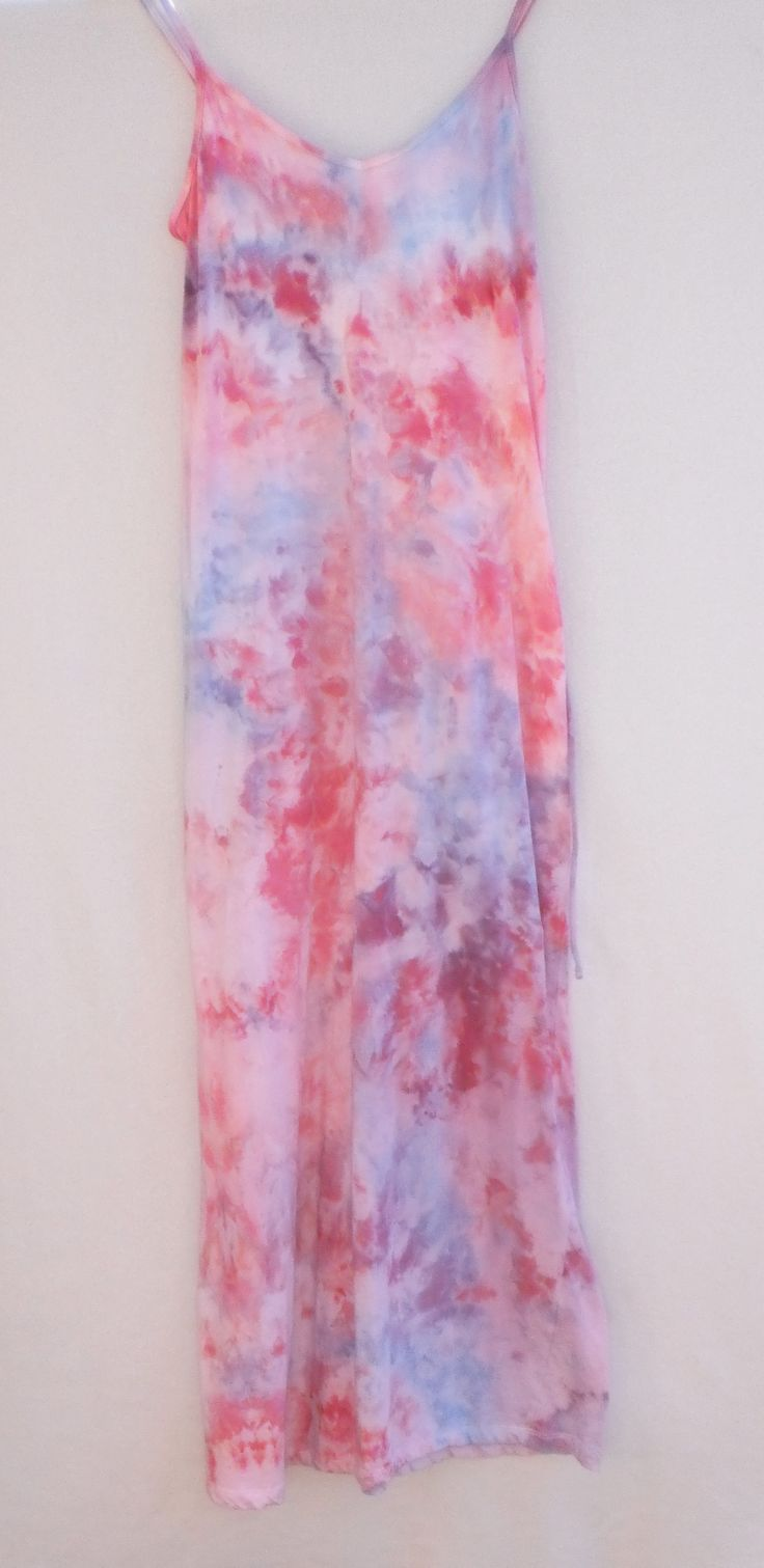 Maxi dress (front) Ice dyeing; during the process you never know how it's going to look and every item will be different.