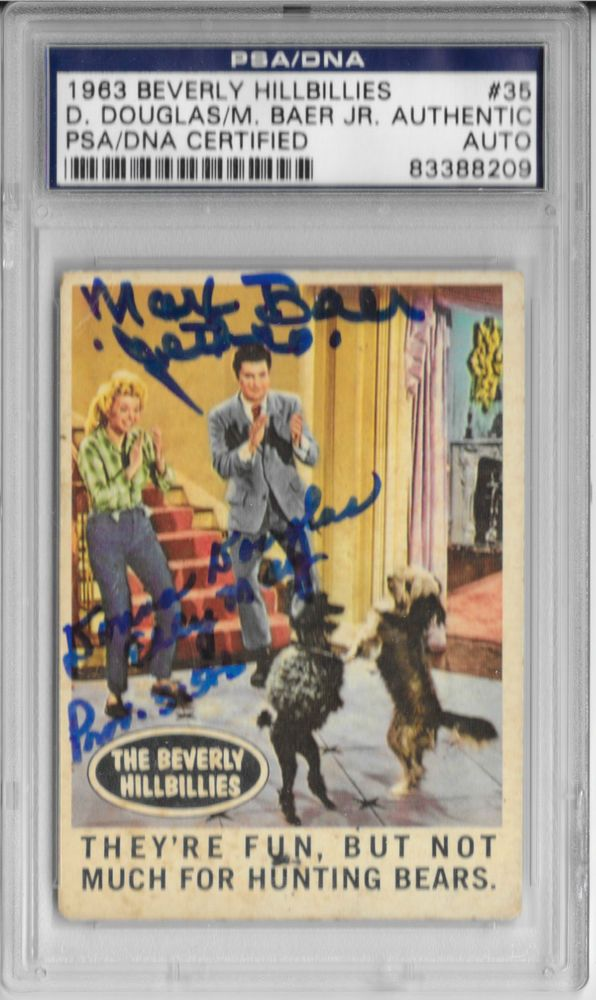 MAX BAER JR. & DONNA DOUGLAS Signed 1963 TOPPS Beverly Hillbillies CARD #35 PSA