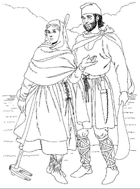 Eleventh-century peasants. Under her cloak, the woman wears a bliaud covered with an apron laced for fit. She wears cross-gartered, soft leather stockings, On her head is a headrail. The man wears a short tunic over looser drawers which are cross-gartered. His cloak is tied at the shoulder. On his head he wears a peaked cloth or a Phrygian helmet-shaped cap. His shoes are leather.