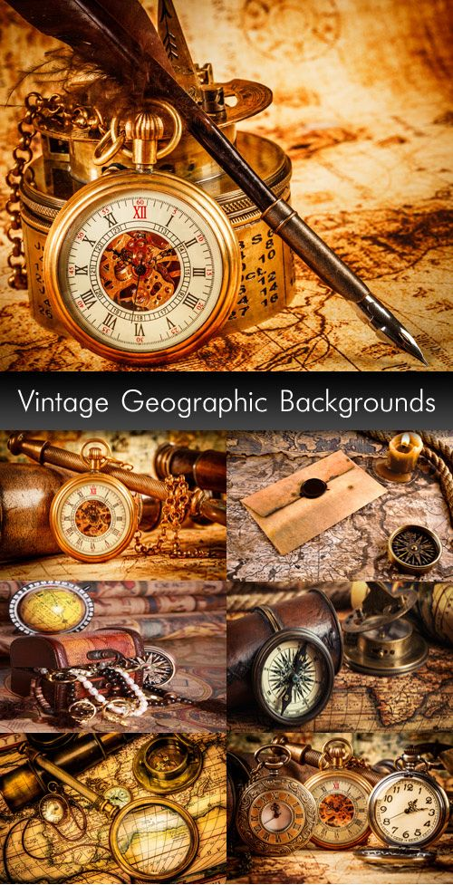 Винтажные географические фоны - Растровый клипарт | Vintage Geographic Backgrounds