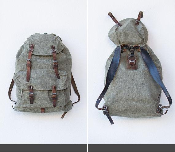 vintage swiss military backpack vintage backpack. Black Bedroom Furniture Sets. Home Design Ideas