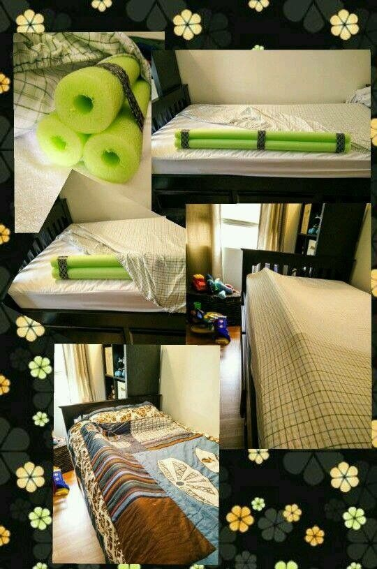 Definitely A Good Idea To Save Money And Skip The In Between Bed Pool Noodle Rail Bumper Under Fitted Sheet