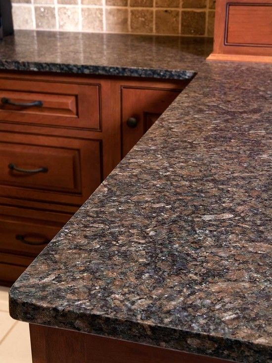 Coffee Brown Granite Countertops : Adorable wooden kitchen table with coffee brown granite