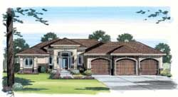 European Style House Plans - 2112 Square Foot Home, 1 Story, 2 Bedroom and 2 3 Bath, 3 Garage Stalls by Monster House Plans - Plan 52-153