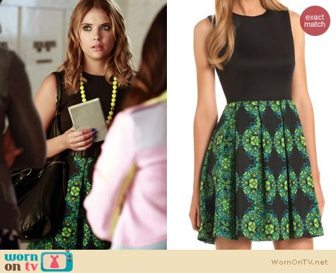 Hanna's black and green dress with printed skirt on Pretty Little Liars. Outfit Details: http://wornontv.net/23471 #PrettyLittleLiars #PLL