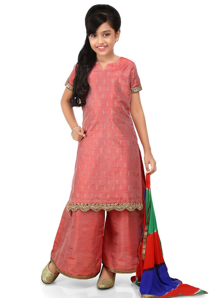 Buy Peach Art Dupion Silk Kids Palazzo Suit online from the wide collection of girls-salwar-kameez.  This Peach colored girls-salwar-kameez in Art Silk fabric goes well with any occasion. Shop online Designer girls-salwar-kameez from cbazaar at the lowest price.