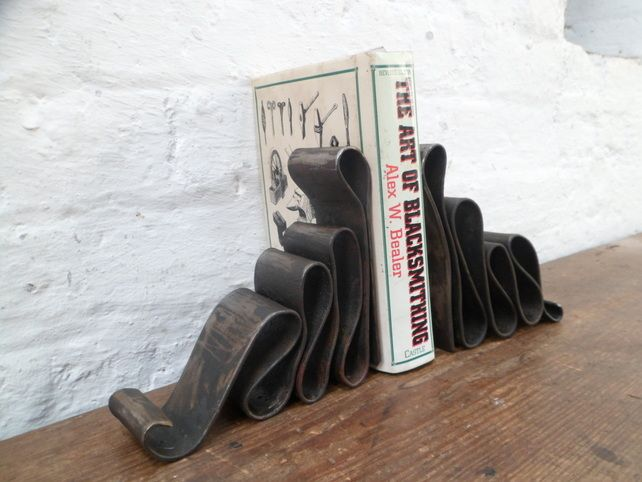 Ribbon Bookends, Hand forged by Blacksmith