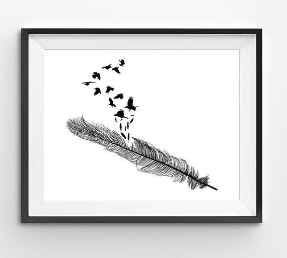 Black Birds flying out of Feather Print Black Feather Print