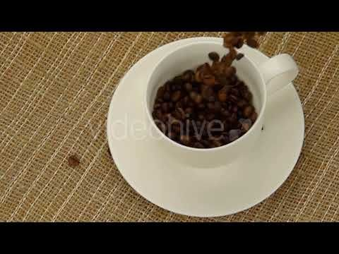 Whole Coffee Beans Falling into the Cup (Stock Footage)