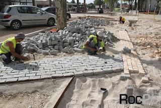 Projecto de Requalificação da Av. José Alves Correia da Silva em Fátima, calçada portuguesa em granito cinza e pedra branca
