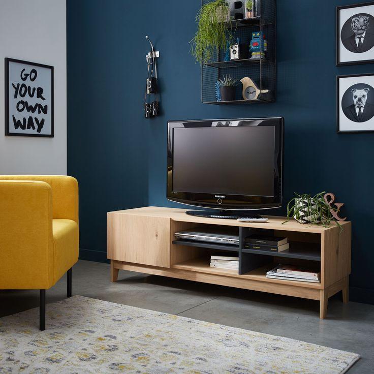 Marcia   Meuble Tv avec 1 porte et 4 cases coloris chêne clair et gris - Alinéa