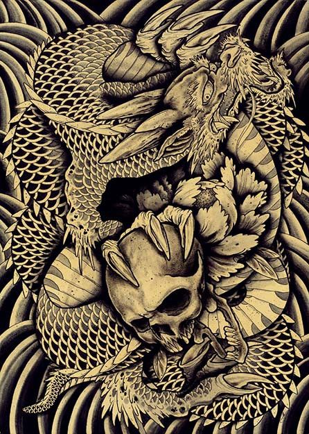 Taken by Clark North Chinese Dragon Skull Asian Tattoo Artwork Print