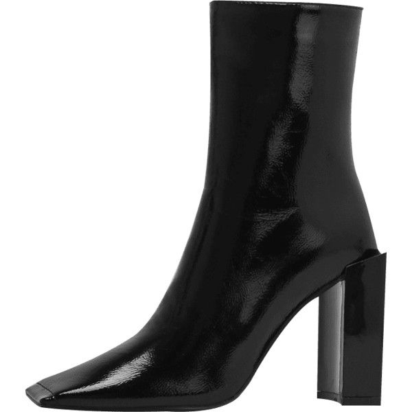 Black 39 Square Toe Side Zip Boots ($23) ❤ liked on Polyvore featuring shoes, boots, side zipper boots, side zip shoes, kohl boots, black boots and square toe shoes