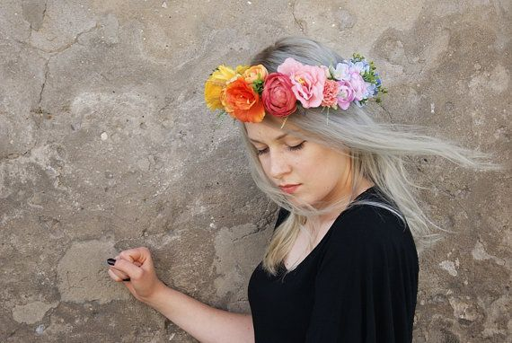 colorful flower crown floral crown flower band floral by mamwene