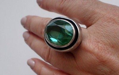 Znalezione obrazy dla zapytania Szmaragdowe ORNO gigant pierścień stare srebro