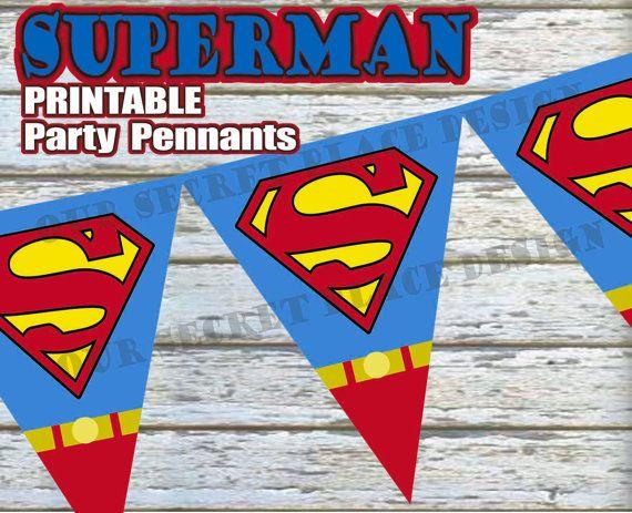 INSTANT DOWNLOAD Large Printable Superman Superhero Birthday Party Pennant Banner Digital Download
