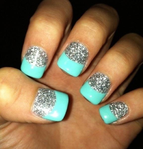 Acrylic silver nails with teal tips doing this deff thanks to @Celeste Delaune Freeman