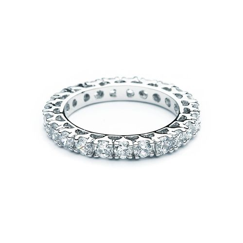 Designer Shared-setting band ring w/ Cubic Zirconia