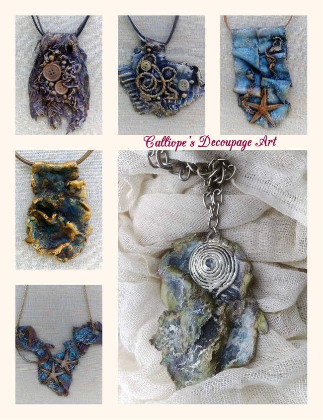 Χειροποίητα κοσμήματα-κρεμαστά φτιαγμένα όλα με υλικά Powertex | Calliope's Decoupage Art