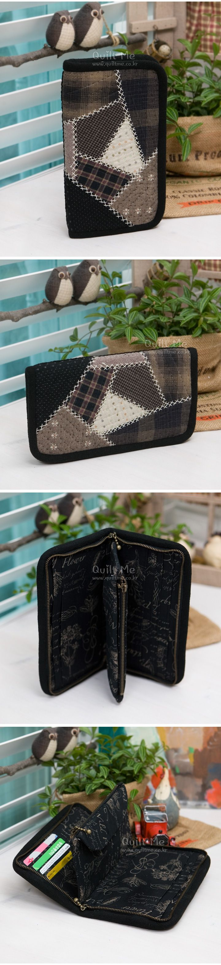 glasses case or perhaps needle keeper case Japanese quilter 퀼트미 [NEW 블랙 크레이지 장지갑]