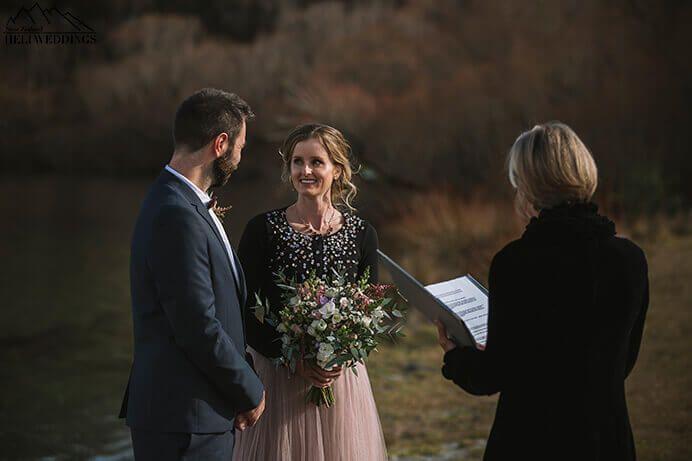 Wedding ceremony. Lake Hayes. Queenstown New Zealand